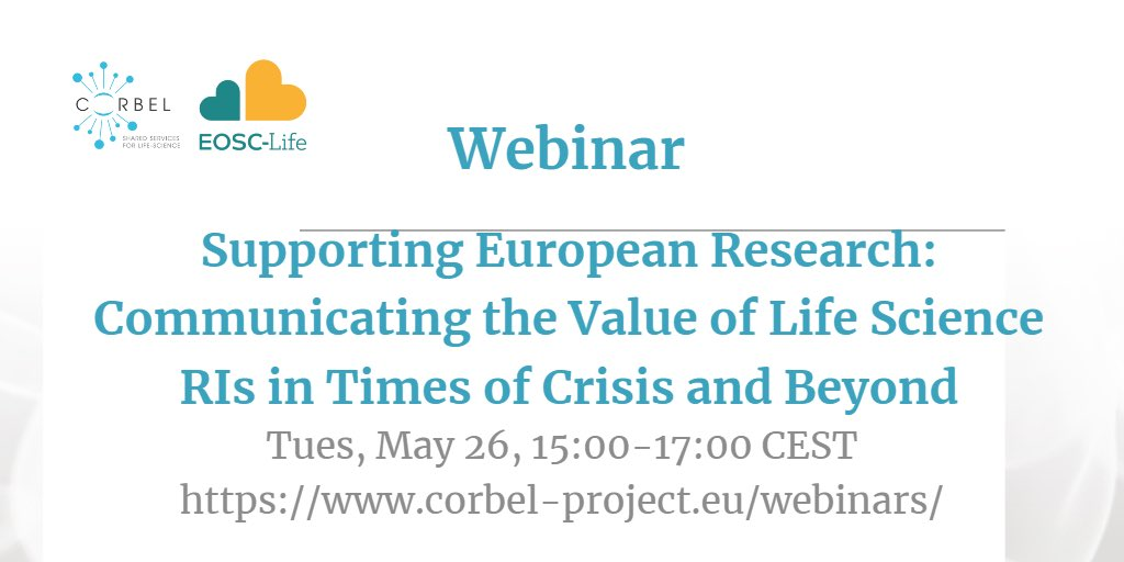 Webinar – Supporting European Research: Communicating the Value of Life Science RIs in Times of Crisis and Beyond