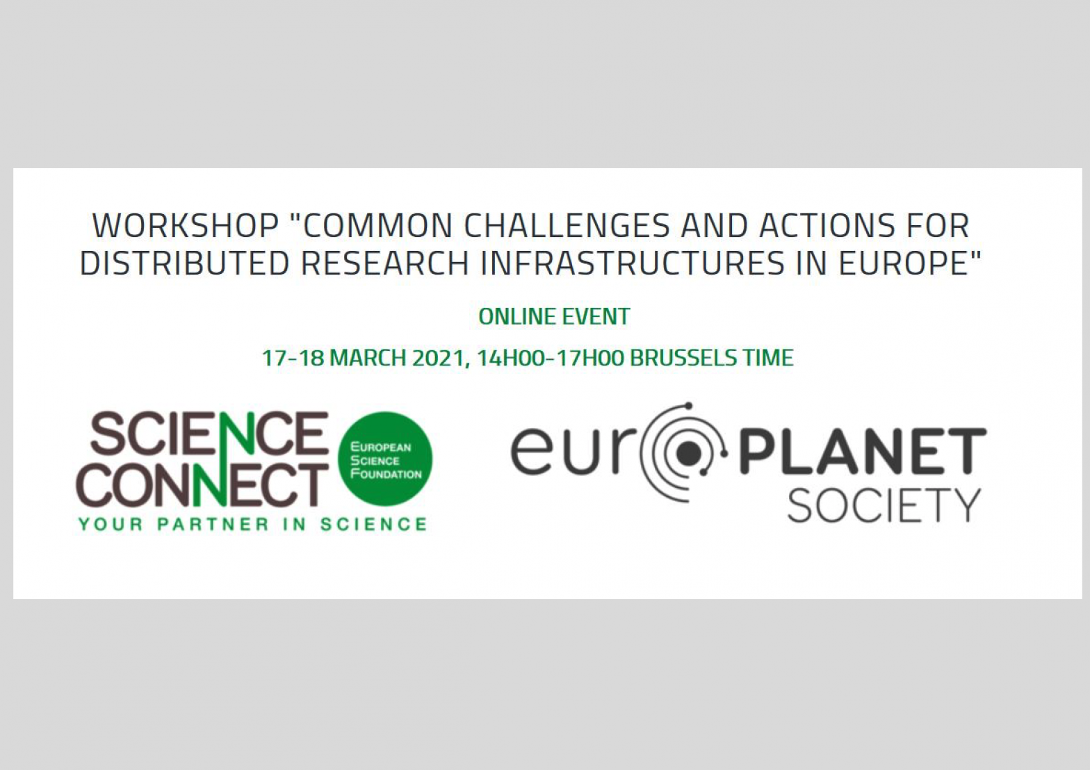 "Workshop ""Common Challenges and Actions for Distributed Research Infrastructures in Europe"""